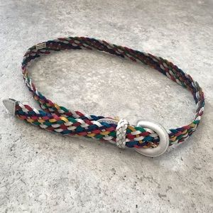 Vintage • Rainbow Braided Chic Leather Belt
